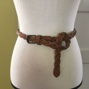 Accessories - Skinny Brown Braided Belt | Wardrobe Staple | OS